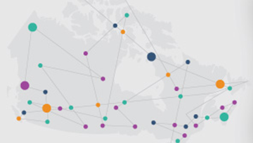 A graphic design depicts lines connecting several coloured dots spread across a faded grey map of Canada