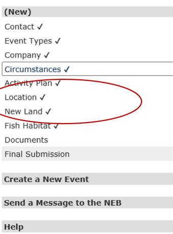 Event Reporting - Circumstances - New Permanent Land